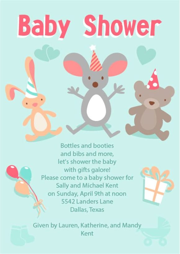 Baby Shower Vector Invitation Template Baby shower 01