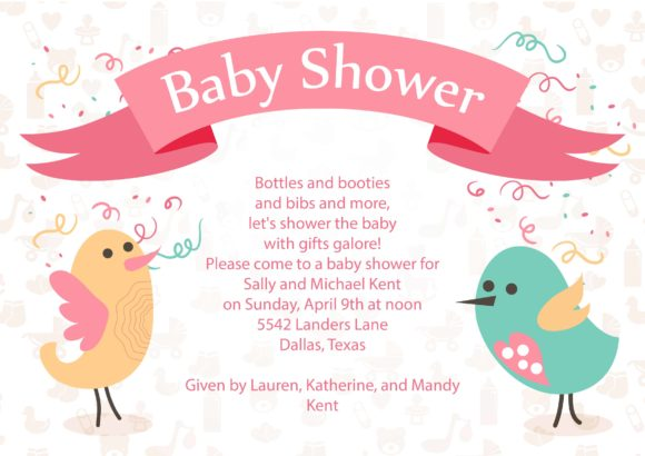 Baby Shower Vector Invitation Template Baby shower 02