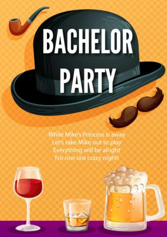 Bachelor Party Vector Invitation Template Vector Illustrations vector