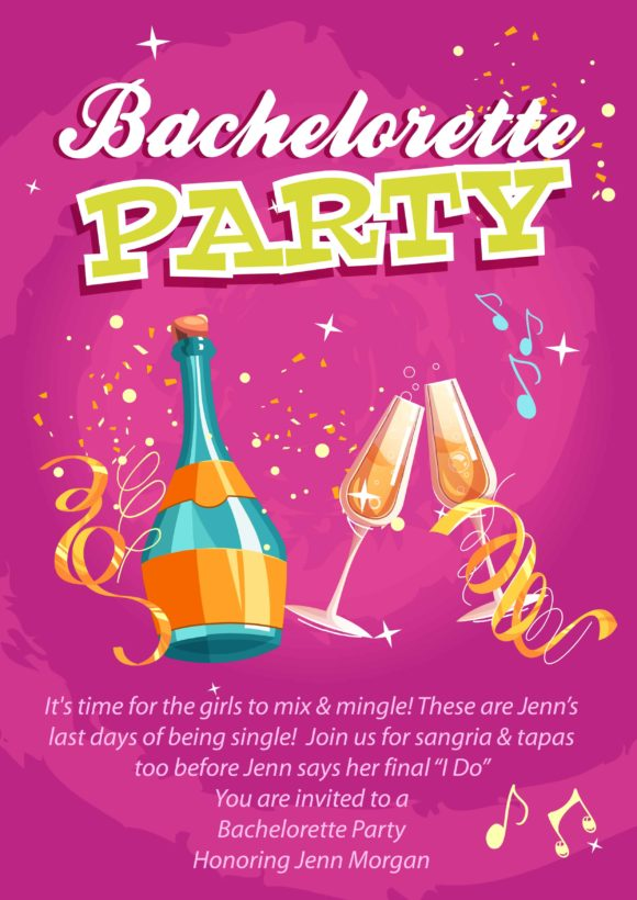 Bachelorette Party Vector Invitation Template Vector Illustrations vector