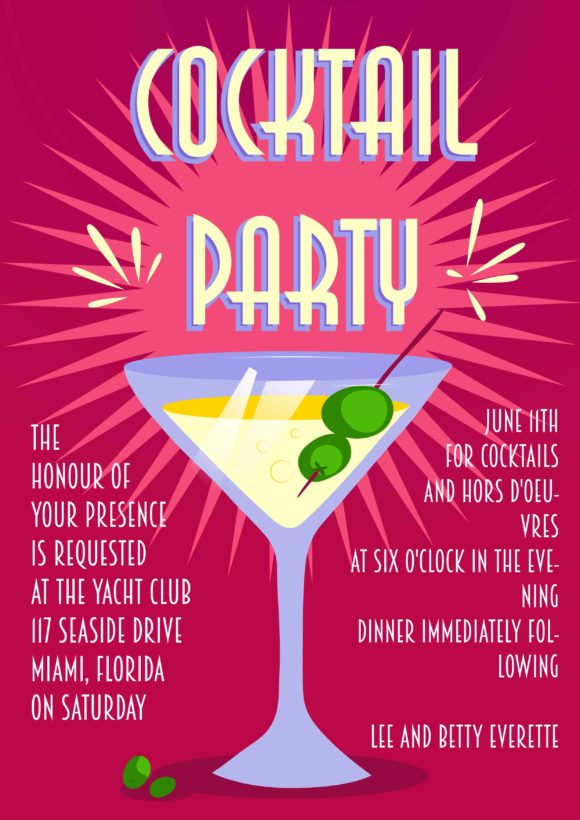 Cocktail Party Vector Invitation Template Cocktail party 01