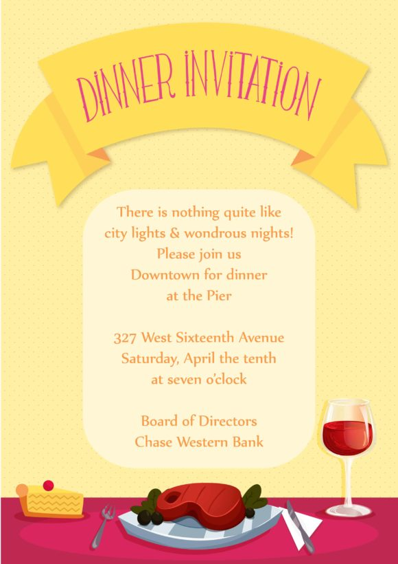 Dinner Party Vector Invitation Template Dinner party 01
