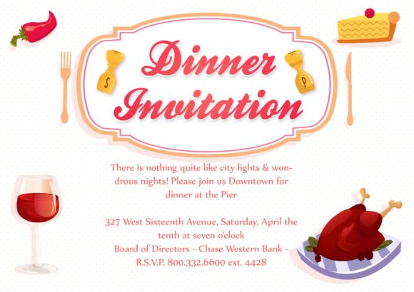 Dinner Party Vector Invitation Template Dinner party 02