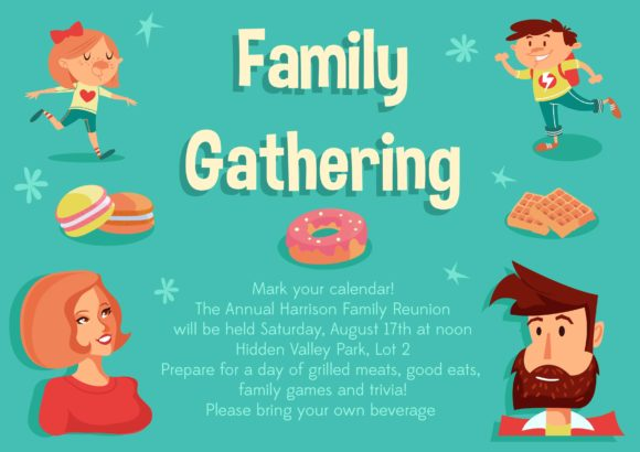 Family Gathering Vector Invitation Template Vector Illustrations vector