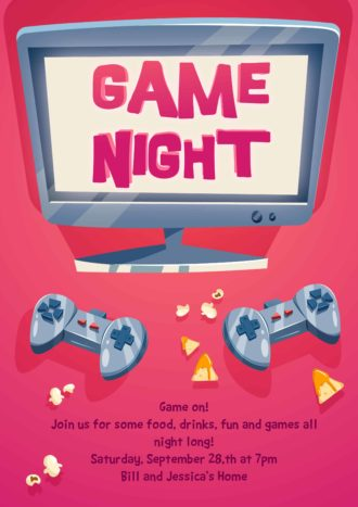 Game Night Vector Invitation Template Vector Illustrations vector