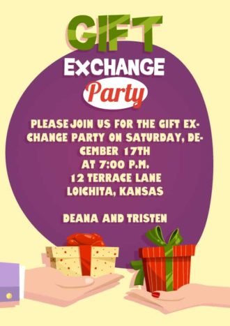 Gift Exchange Vector Invitation Template Vector Illustrations vector