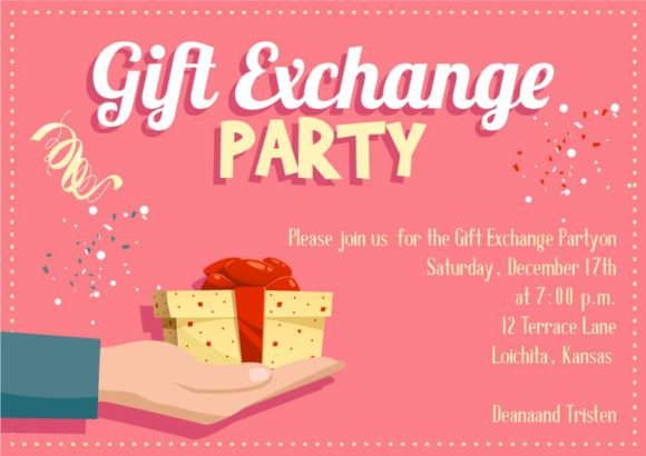 Gift Exchange Vector Invitation Template