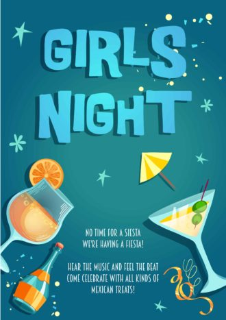 Girls Night Vector Invitation Template Vector Illustrations vector