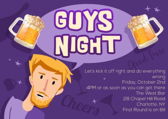 Guys Night Vector Invitation Template Guys night 01