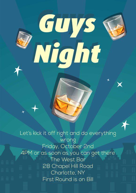 Guys Night Vector Invitation Template Guys night 02