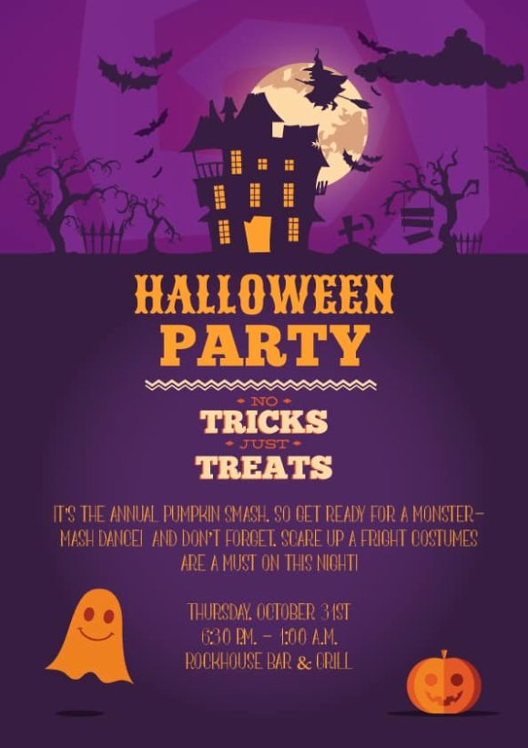 Halloween Vector Invitation Template Vector Illustrations vector