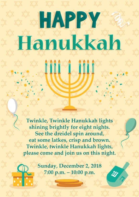 Hanukkah Vector Invitation Template Hanukkah 02