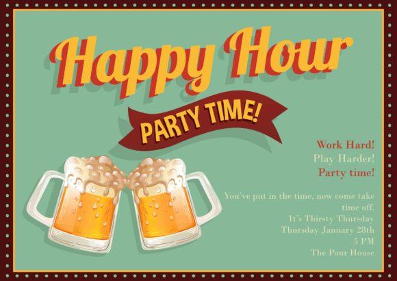 Happy Hour Vector Invitation Template Happy hour 01