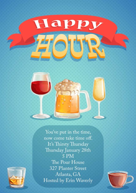 Happy Hour Vector Invitation Template Happy hour 02