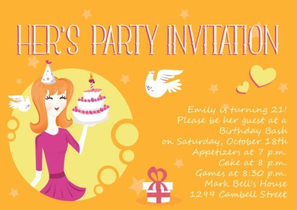 Her Birthday Vector Invitation Template Her birthday 02