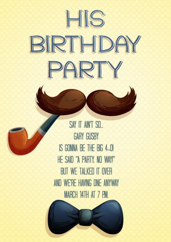 His Birthday Vector Invitation Template His birthday 01