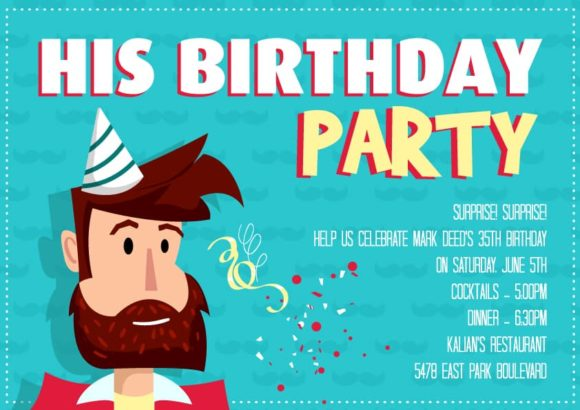 His Birthday Vector Invitation Template His birthday 02
