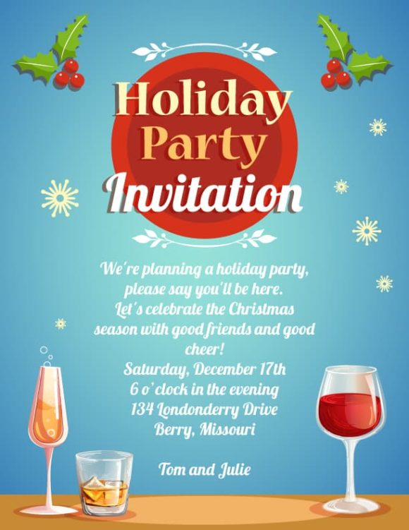 Holiday Party Vector Invitation Template Vector Illustrations vector