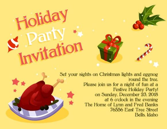 Holiday Party Vector Invitation Template Holiday party 02