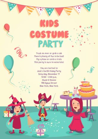Kids Party Vector Invitation Template Vector Illustrations vector