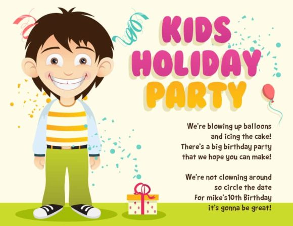 Kids Party Vector Invitation Template Kids party 02