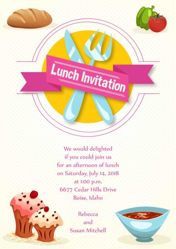 Lunch Invitation Vector Invitation Template Vector Illustrations vector