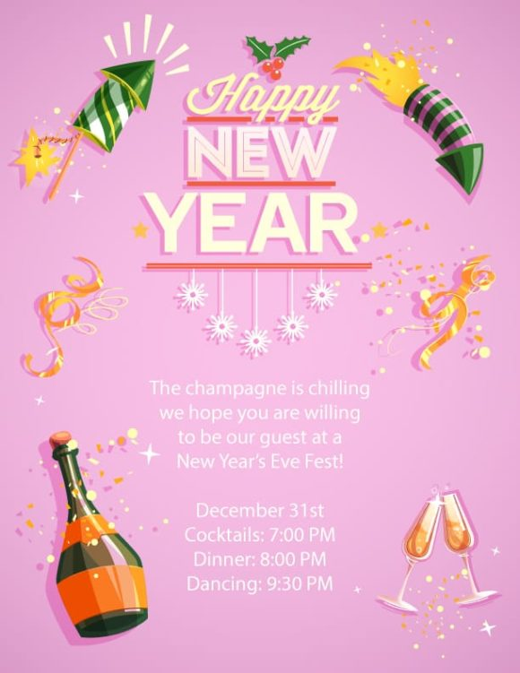 Free New Year Vector Invitation Template New year 01