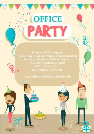 Office Party Vector Invitation Template Vector Illustrations vector