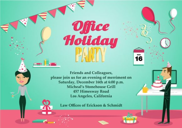 Office Party Vector Invitation Template Office party 02