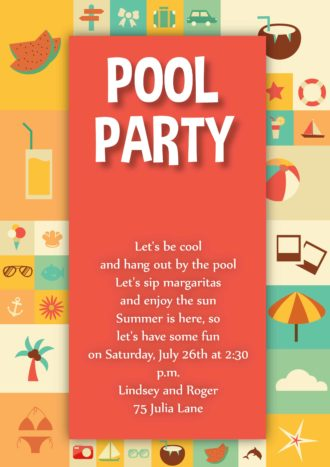 Pool Party Vector Invitation Template Vector Illustrations vector