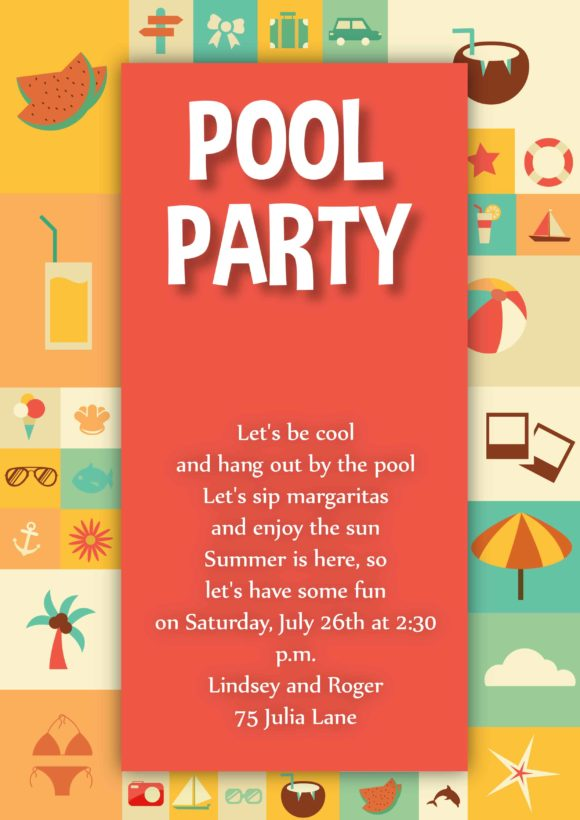 Pool Party Vector Invitation Template Pool party 01