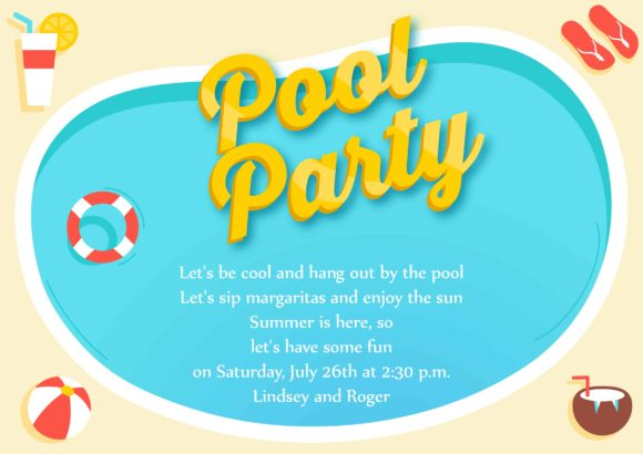 Pool Party Vector Invitation Template Pool party 02