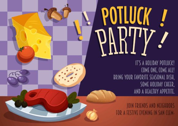 Potluck Vector Invitation Template Vector Illustrations vector