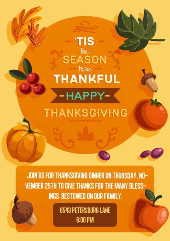 Thanksgiving Vector Invitation Template Vector Illustrations vector