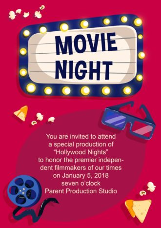 Viewing Movie Night Vector Invitation Template Vector Illustrations vector