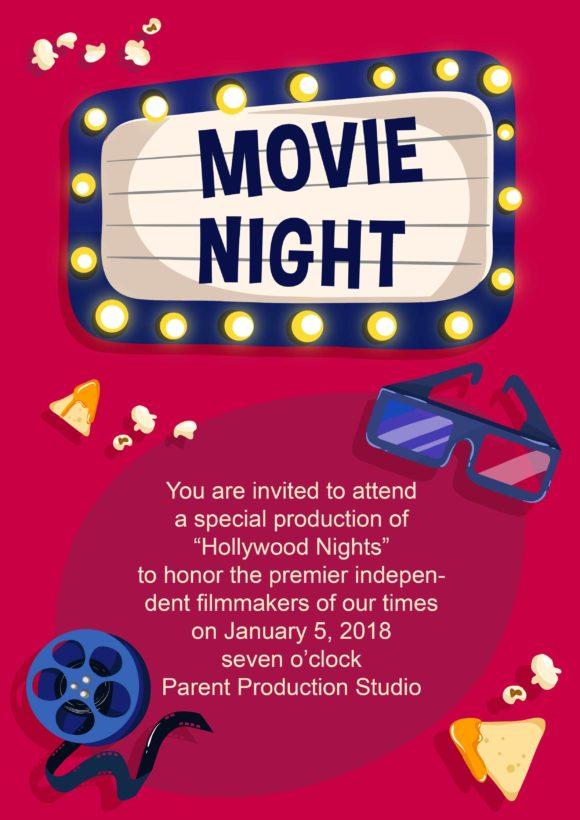 Viewing Movie Night Vector Invitation Template Vector Illustrations vector