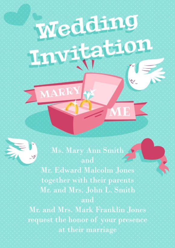 Wedding Vector Invitation Template Vector Illustrations vector