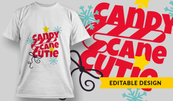 Candy Cane Cutie | Editable T-shirt Design Template 2254 1