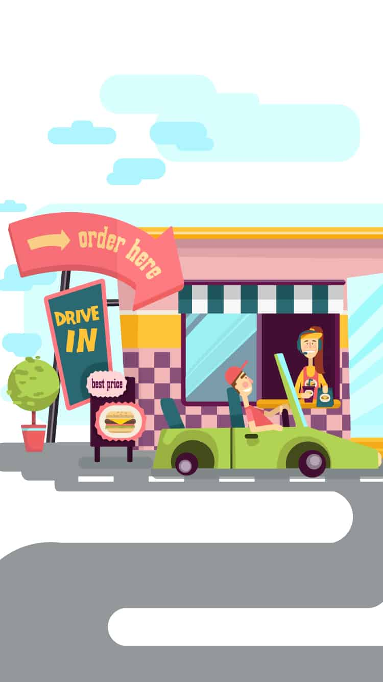 Drive-In Illustrated Flat Vector Set drive in mobile