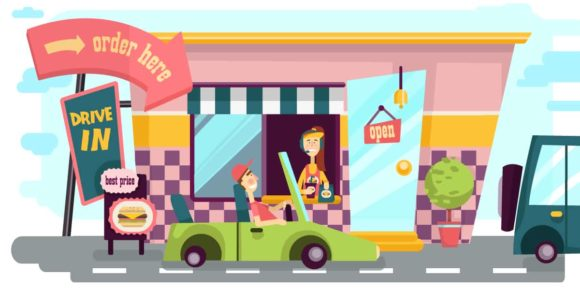 Drive-In Illustrated Flat Vector Set