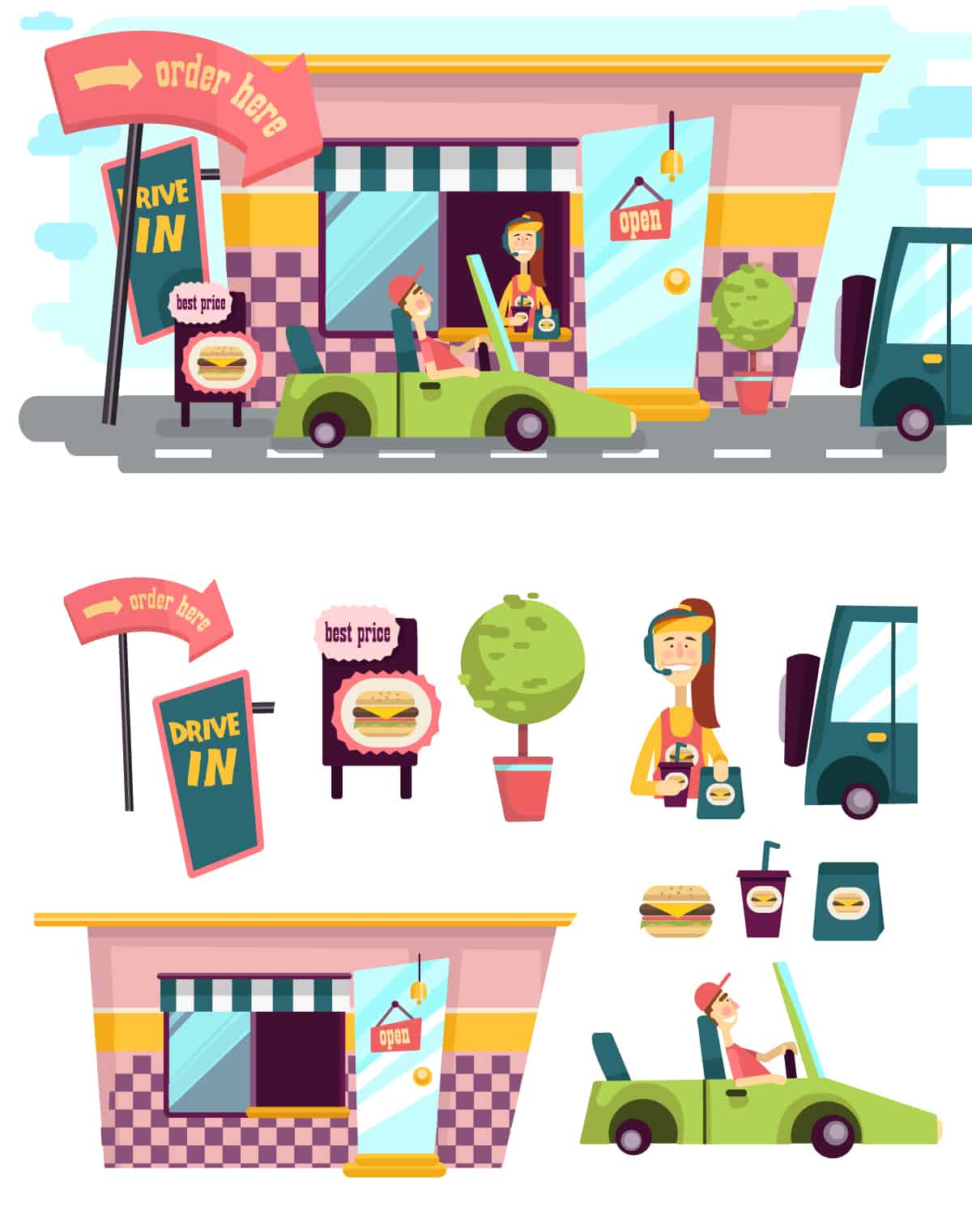 Drive-In Illustrated Flat Vector Set drive in web elements