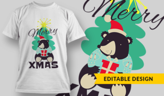 Merry Xmas Bear T-shirt Designs and Templates tree