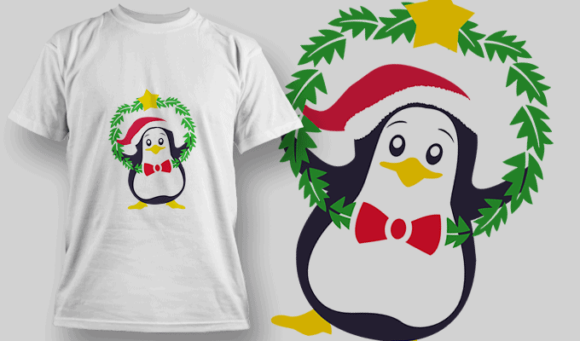 Penguin With Wreath penguin wreath preview