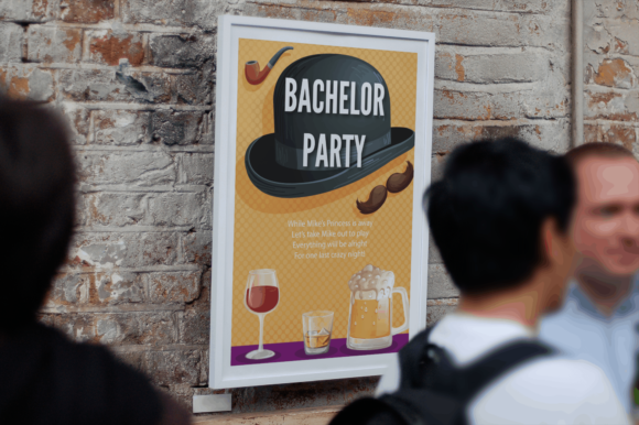 88x Event Invitations & Poster Templates poster frame mockup featuring people passing by 2642 el1