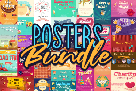 88x Event Invitations & Poster Templates posters bundle 0
