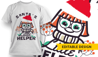 Santa's Little Helper (girl) T-shirt Designs and Templates vector