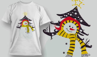 Snowman and Tree T-shirt Designs and Templates tree