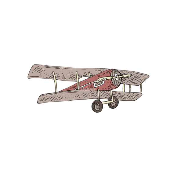 Engraved Transportation Set 1 Airplane Svg & Png Clipart 1
