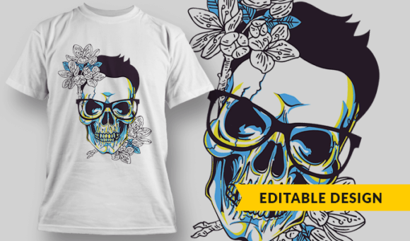 Skull With Glasses And Flowers hipster skull flowers preview