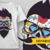 Good Night hipster sugar skull with glasses preview